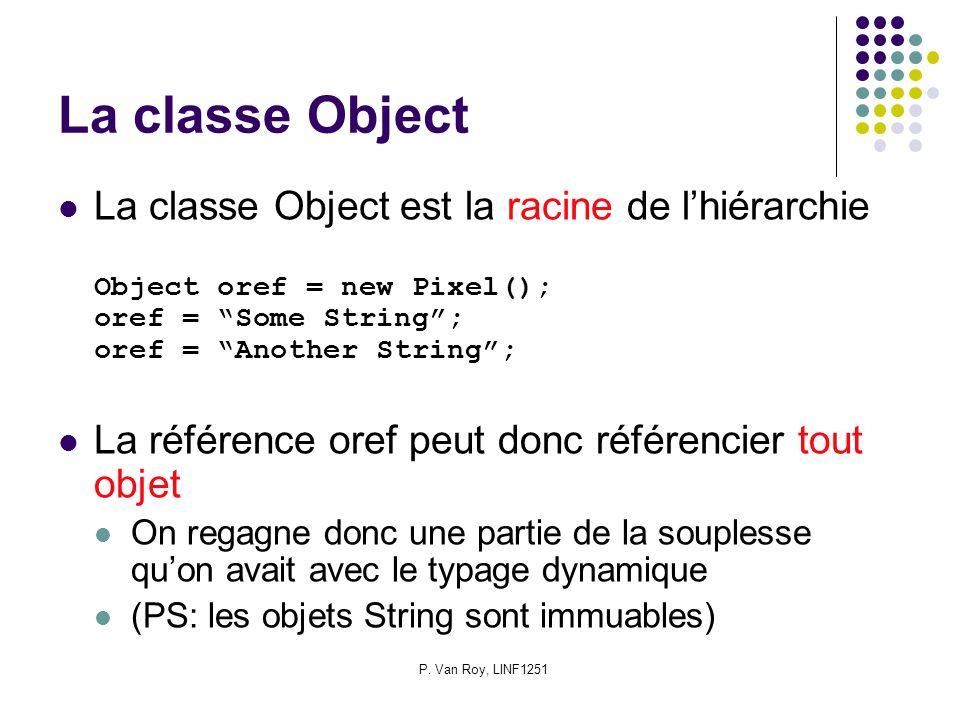 P. Van Roy, LINF1251 La classe Object La classe Object est la racine de lhiérarchie Object oref = new Pixel(); oref = Some String; oref = Another Stri