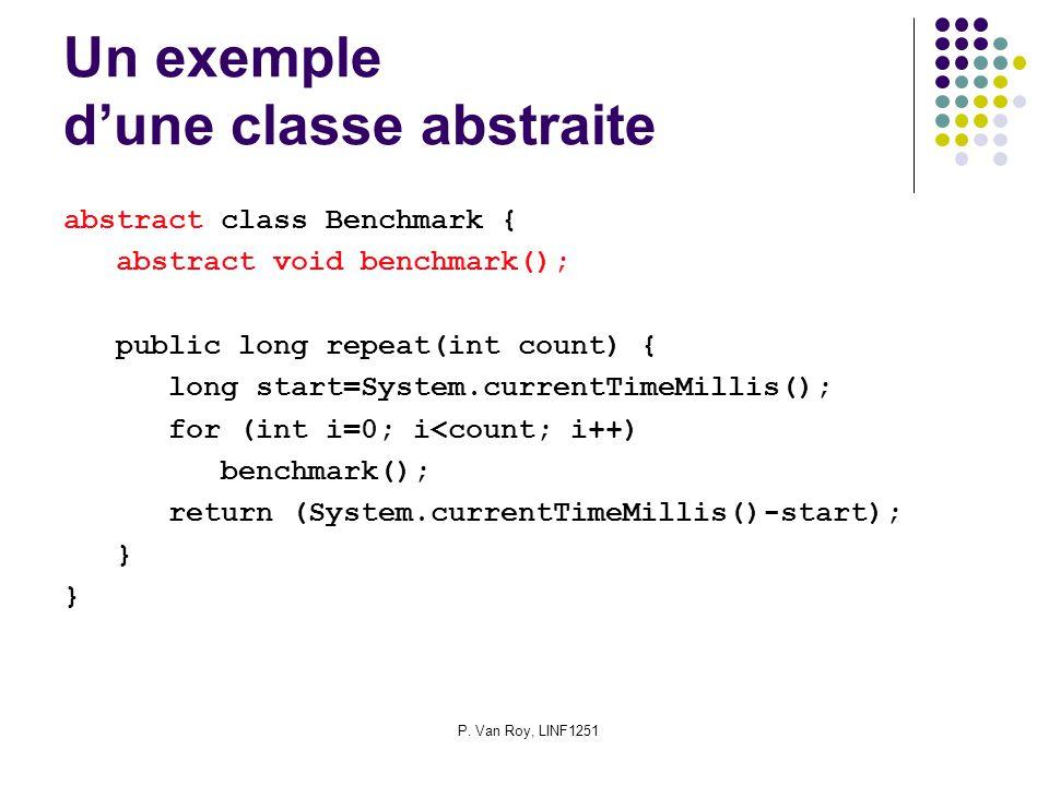 P. Van Roy, LINF1251 Un exemple dune classe abstraite abstract class Benchmark { abstract void benchmark(); public long repeat(int count) { long start