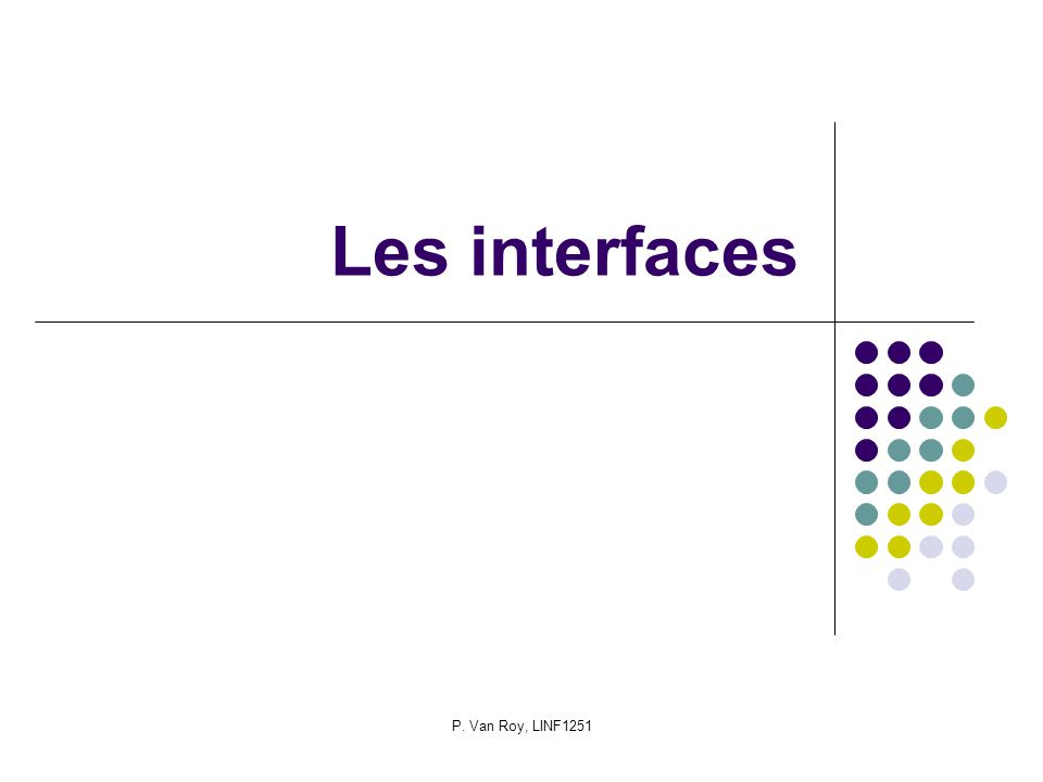 P. Van Roy, LINF1251 Les interfaces