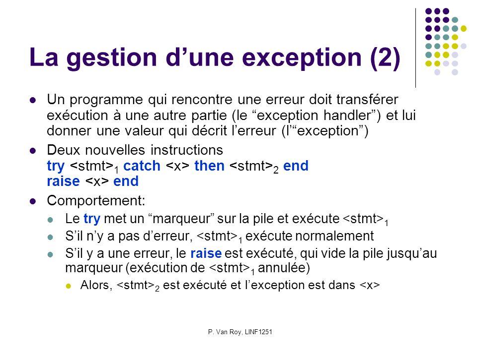 P. Van Roy, LINF1251 La gestion dune exception (2) Un programme qui rencontre une erreur doit transférer exécution à une autre partie (le exception ha