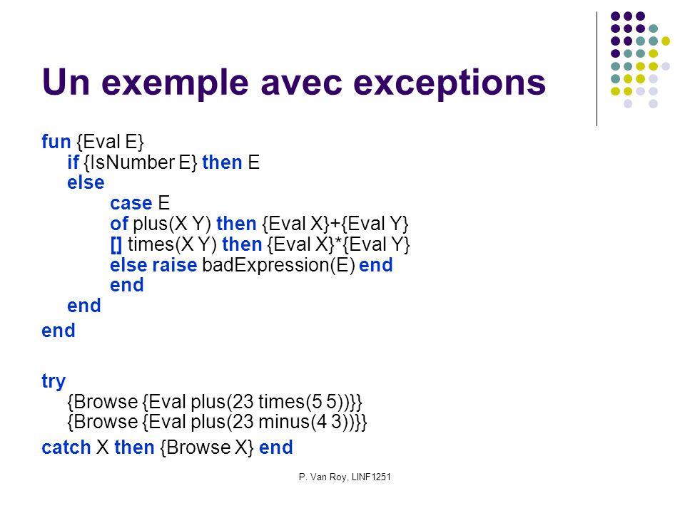 P. Van Roy, LINF1251 Un exemple avec exceptions fun {Eval E} if {IsNumber E} then E else case E of plus(X Y) then {Eval X}+{Eval Y} [] times(X Y) then
