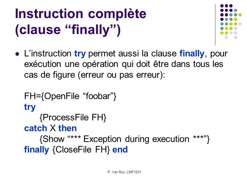 P. Van Roy, LINF1251 Instruction complète (clause finally) Linstruction try permet aussi la clause finally, pour exécution une opération qui doit être