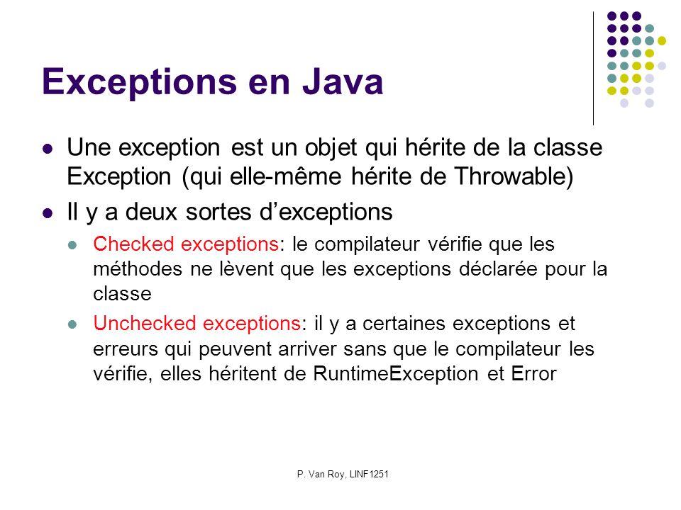 P. Van Roy, LINF1251 Exceptions en Java Une exception est un objet qui hérite de la classe Exception (qui elle-même hérite de Throwable) Il y a deux s