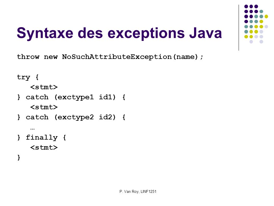 P. Van Roy, LINF1251 Syntaxe des exceptions Java throw new NoSuchAttributeException(name); try { } catch (exctype1 id1) { } catch (exctype2 id2) { … }