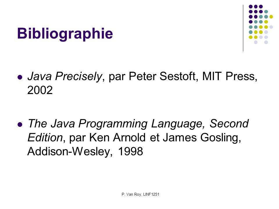 P. Van Roy, LINF1251 Bibliographie Java Precisely, par Peter Sestoft, MIT Press, 2002 The Java Programming Language, Second Edition, par Ken Arnold et