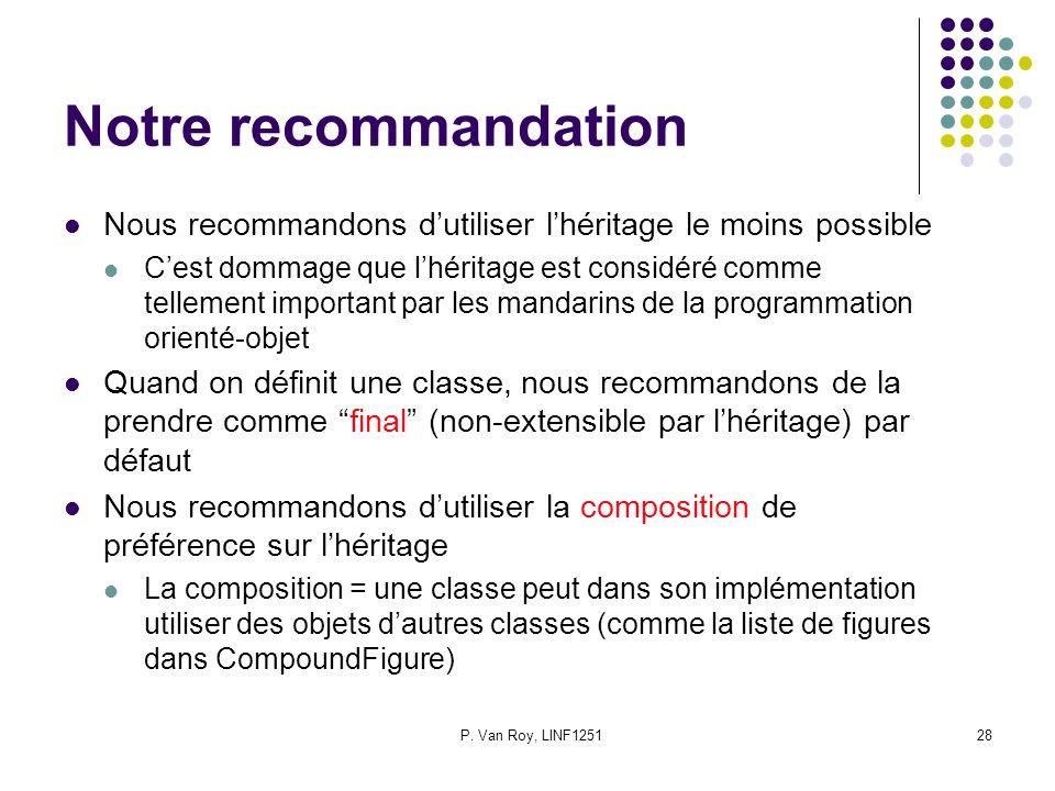 P. Van Roy, LINF125128 Notre recommandation Nous recommandons dutiliser lhéritage le moins possible Cest dommage que lhéritage est considéré comme tel