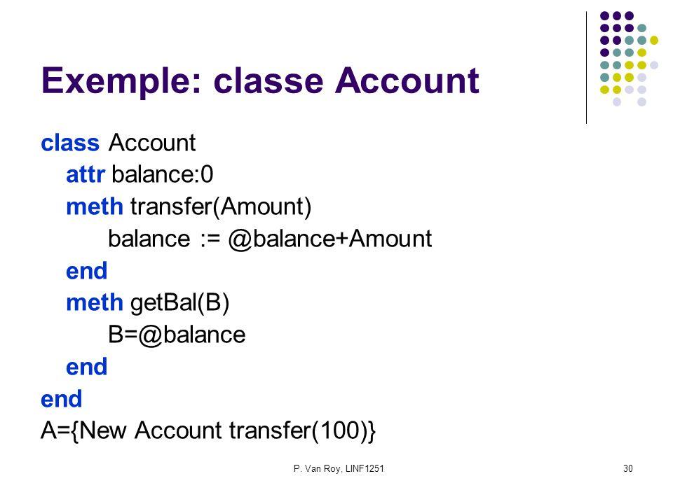 P. Van Roy, LINF125130 Exemple: classe Account class Account attr balance:0 meth transfer(Amount) balance := @balance+Amount end meth getBal(B) B=@bal