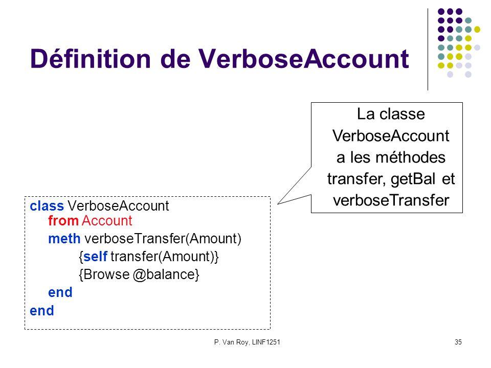 P. Van Roy, LINF125135 Définition de VerboseAccount class VerboseAccount from Account meth verboseTransfer(Amount) {self transfer(Amount)} {Browse @ba