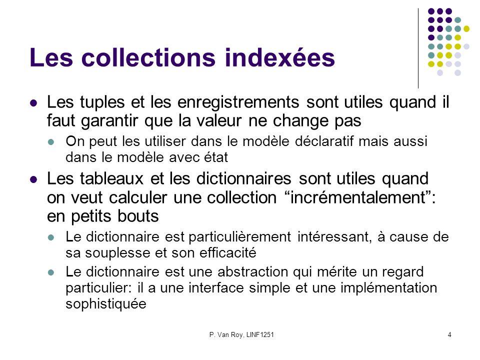 P. Van Roy, LINF12514 Les collections indexées Les tuples et les enregistrements sont utiles quand il faut garantir que la valeur ne change pas On peu