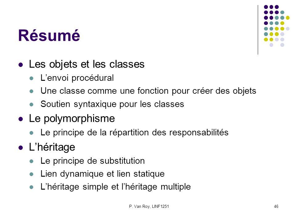 P. Van Roy, LINF125146 Résumé Les objets et les classes Lenvoi procédural Une classe comme une fonction pour créer des objets Soutien syntaxique pour