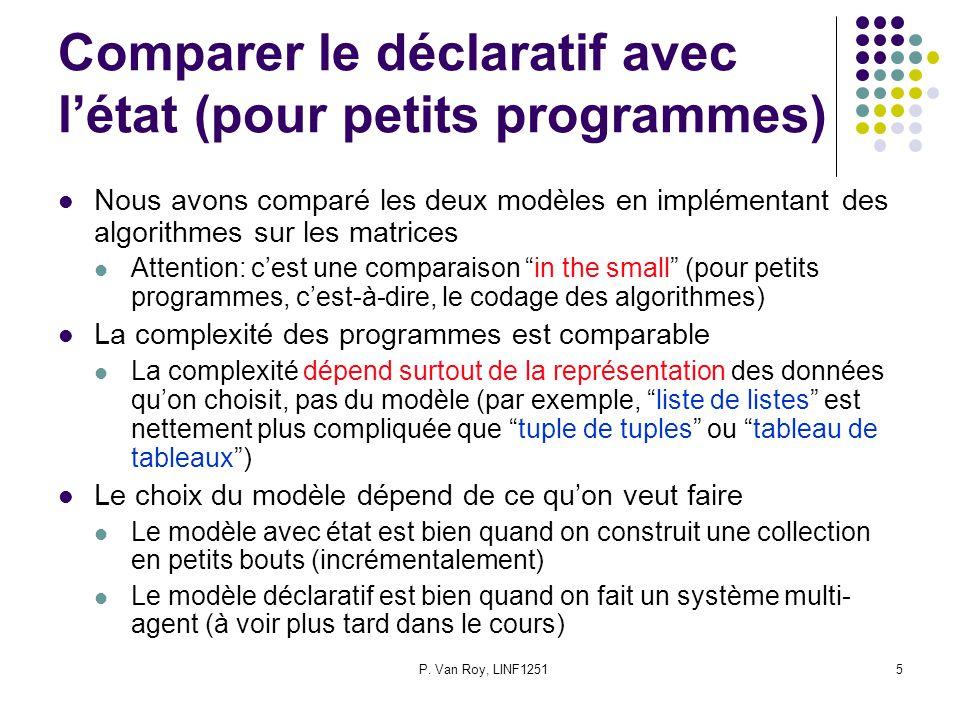 P. Van Roy, LINF12515 Comparer le déclaratif avec létat (pour petits programmes) Nous avons comparé les deux modèles en implémentant des algorithmes s