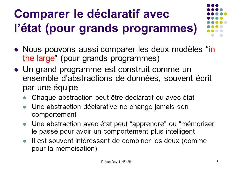 P. Van Roy, LINF12516 Comparer le déclaratif avec létat (pour grands programmes) Nous pouvons aussi comparer les deux modèles in the large (pour grand