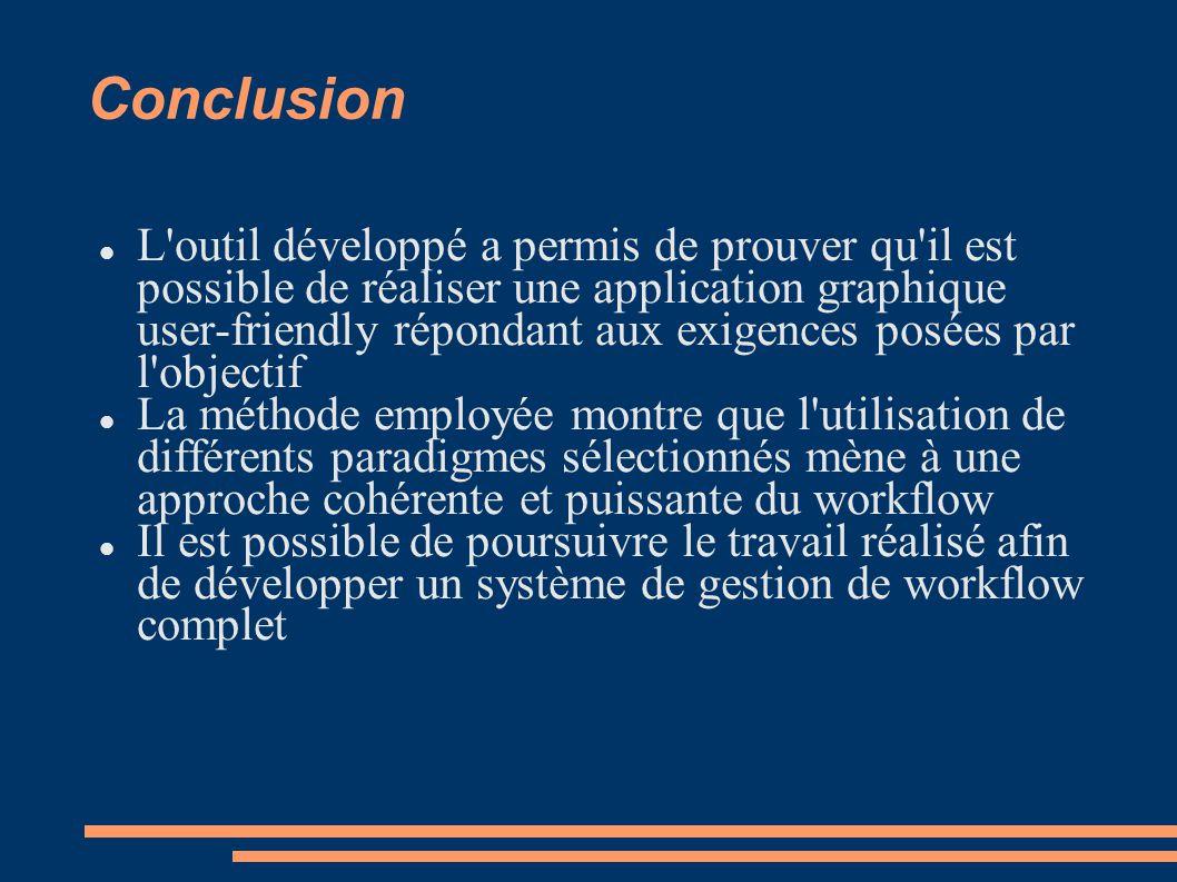 Conclusion L'outil développé a permis de prouver qu'il est possible de réaliser une application graphique user-friendly répondant aux exigences posées