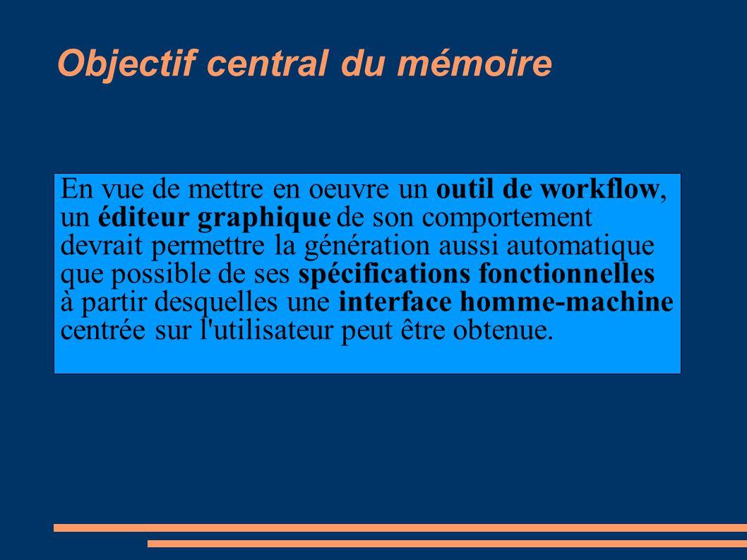Objectif central du mémoire En vue de mettre en oeuvre un outil de workflow, un éditeur graphique de son comportement devrait permettre la génération