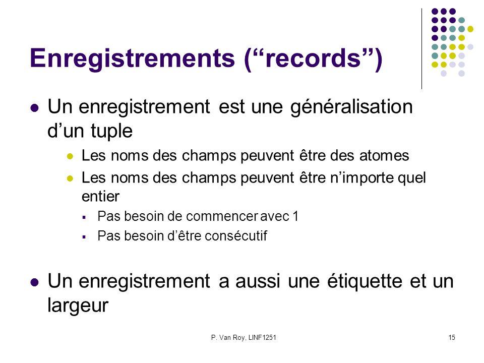 P. Van Roy, LINF125115 Enregistrements (records) Un enregistrement est une généralisation dun tuple Les noms des champs peuvent être des atomes Les no