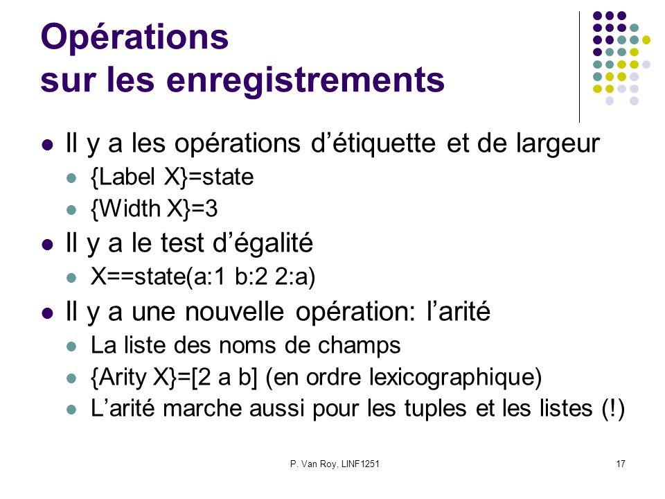 P. Van Roy, LINF125117 Opérations sur les enregistrements Il y a les opérations détiquette et de largeur {Label X}=state {Width X}=3 Il y a le test dé