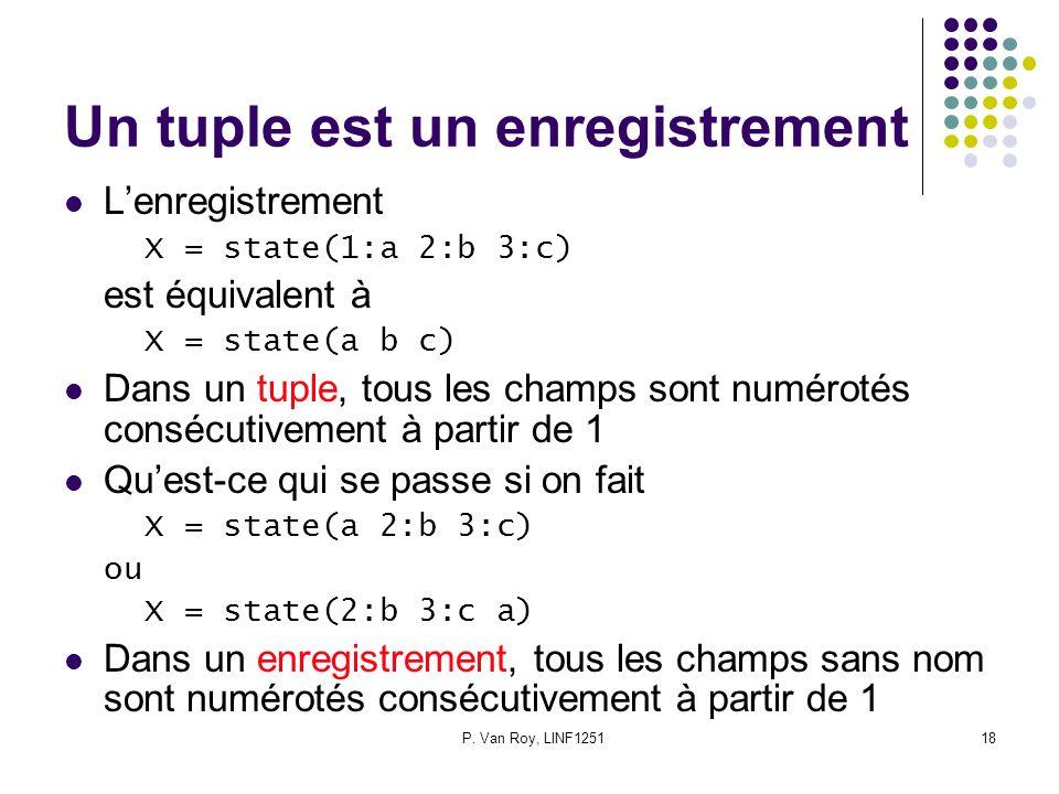 P. Van Roy, LINF125118 Un tuple est un enregistrement Lenregistrement X = state(1:a 2:b 3:c) est équivalent à X = state(a b c) Dans un tuple, tous les