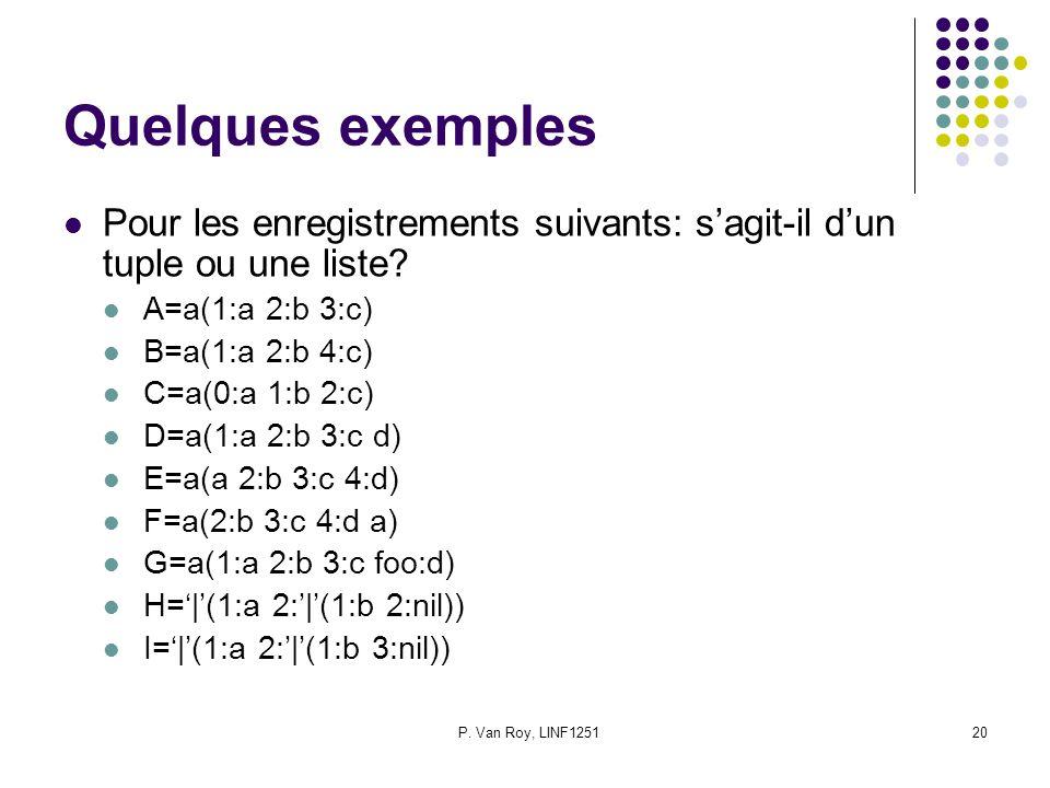 P. Van Roy, LINF125120 Quelques exemples Pour les enregistrements suivants: sagit-il dun tuple ou une liste? A=a(1:a 2:b 3:c) B=a(1:a 2:b 4:c) C=a(0:a