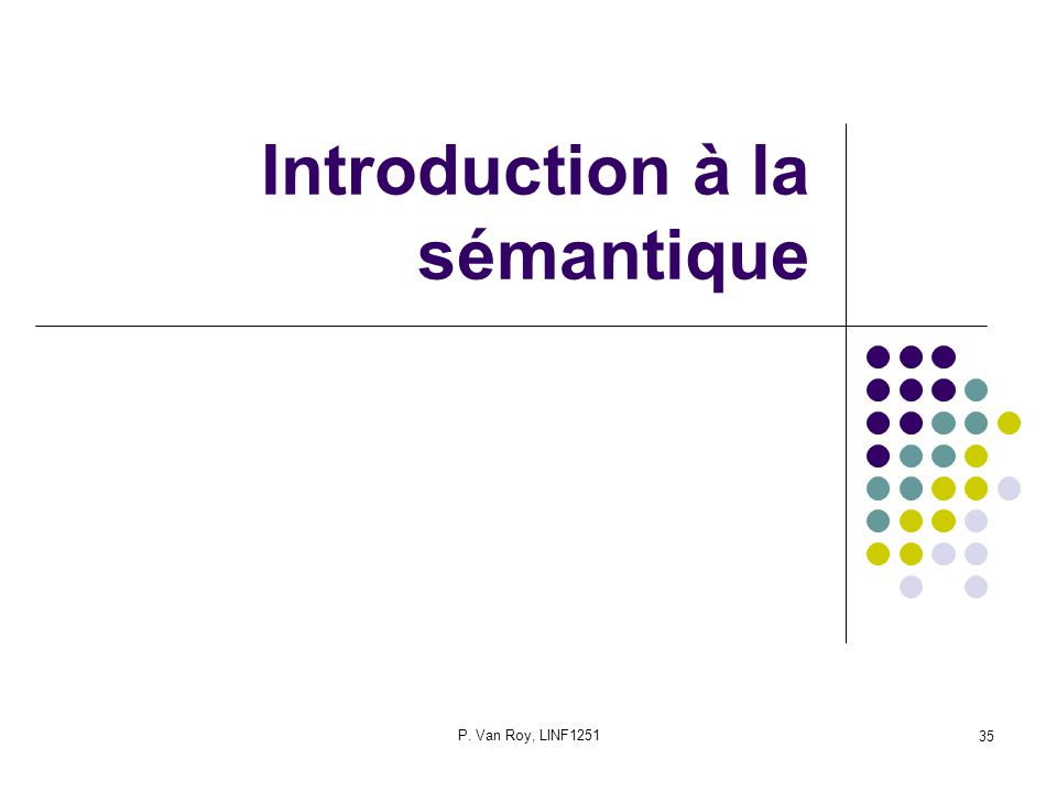 P. Van Roy, LINF1251 35 Introduction à la sémantique