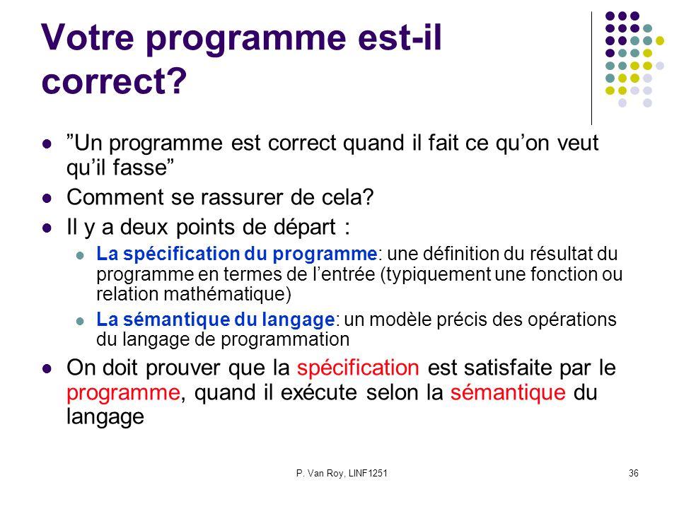 P. Van Roy, LINF125136 Votre programme est-il correct.