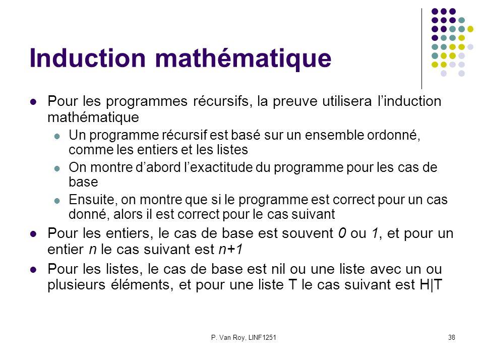 P. Van Roy, LINF125138 Induction mathématique Pour les programmes récursifs, la preuve utilisera linduction mathématique Un programme récursif est bas