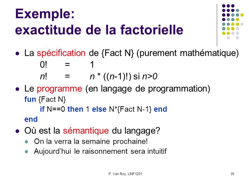 P. Van Roy, LINF125139 Exemple: exactitude de la factorielle La spécification de {Fact N} (purement mathématique) 0!=1 n!=n * ((n-1)!) si n>0 Le progr