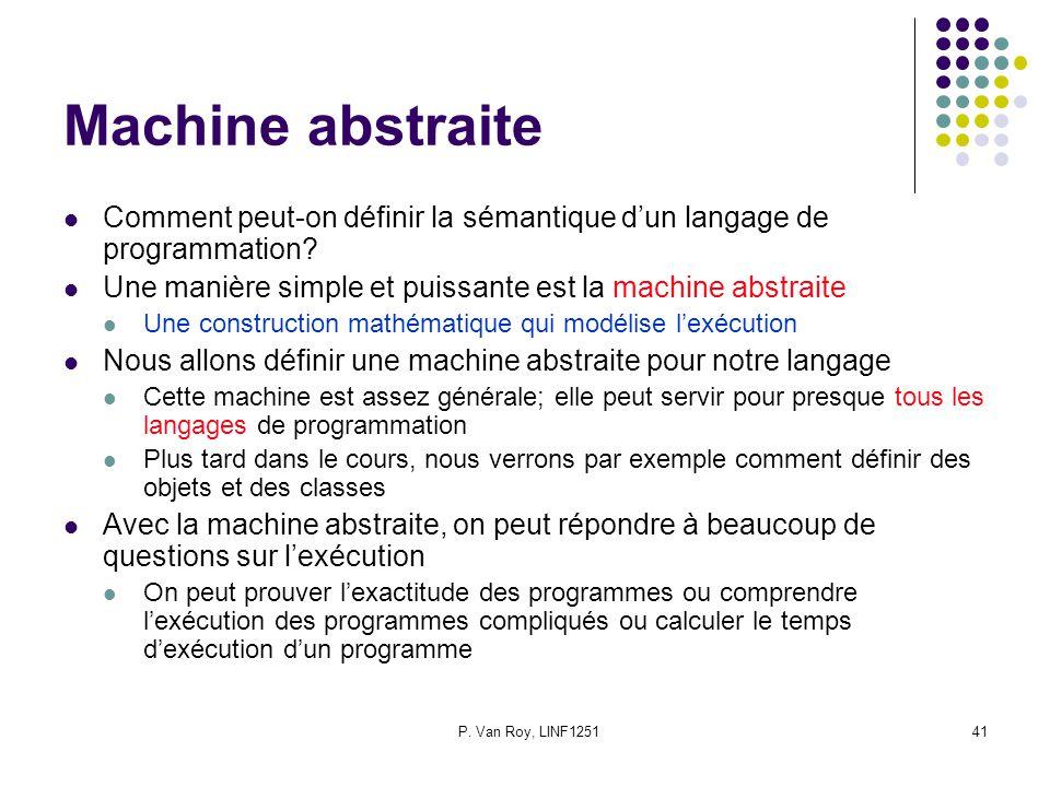 P. Van Roy, LINF125141 Machine abstraite Comment peut-on définir la sémantique dun langage de programmation? Une manière simple et puissante est la ma