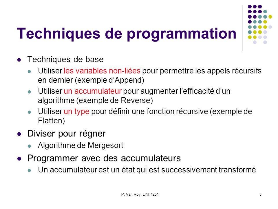 P. Van Roy, LINF12515 Techniques de programmation Techniques de base Utiliser les variables non-liées pour permettre les appels récursifs en dernier (