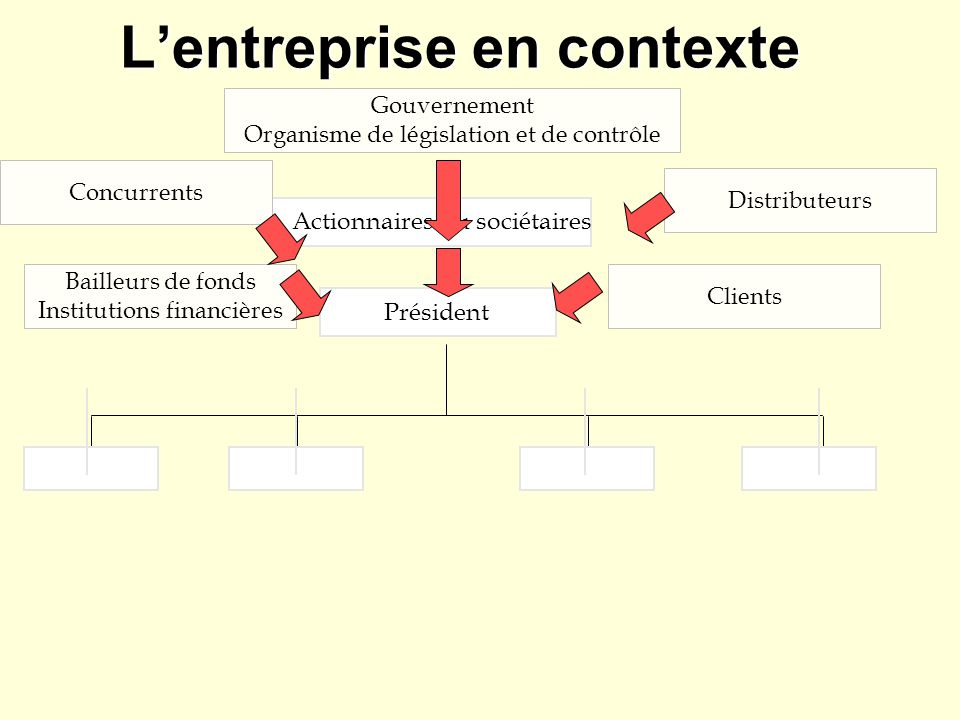 Structure d entreprise Actionnaires ou sociétaires Conseil d administration Comité exécutif Président * du C.A.