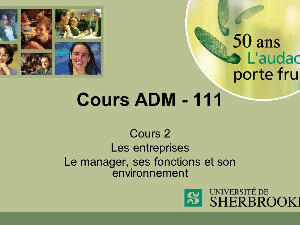 Cours ADM - 111 Cours 2 Les entreprises Le manager, ses fonctions et son environnement