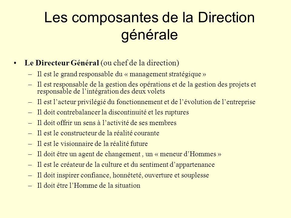 Le Directeur Général (ou chef de la direction) –Il est le grand responsable du « management stratégique » –Il est responsable de la gestion des opérat