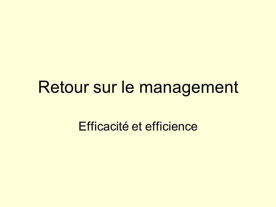 Retour sur le management Efficacité et efficience