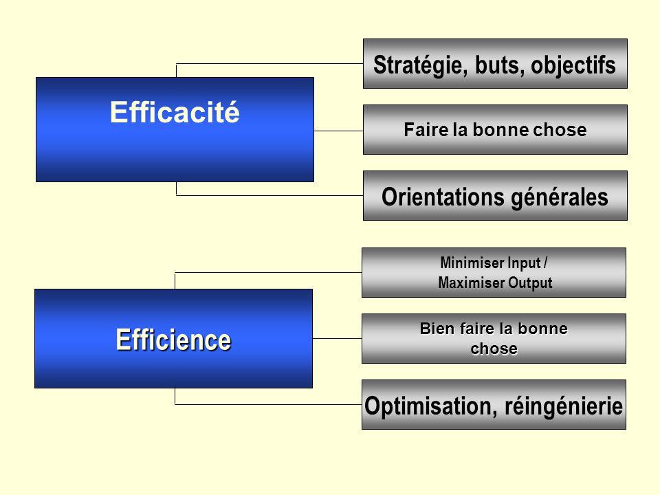 Bien faire la bonne chose Minimiser Input / Maximiser Output Optimisation, réingénierieStratégie, buts, objectifsOrientations générales Faire la bonne