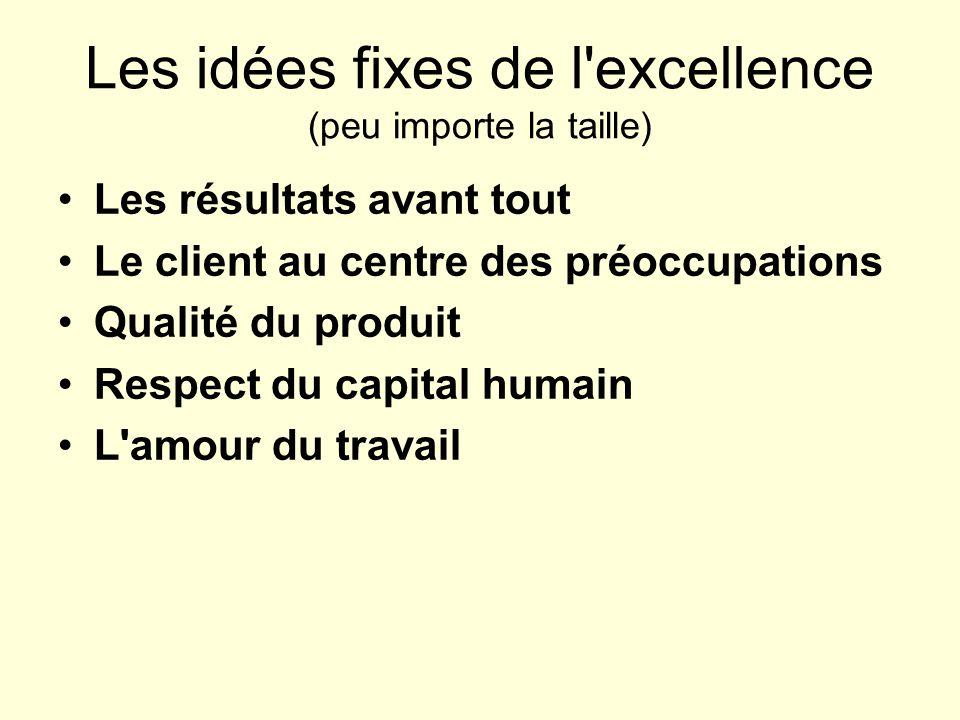 Les idées fixes de l'excellence (peu importe la taille) Les résultats avant tout Le client au centre des préoccupations Qualité du produit Respect du