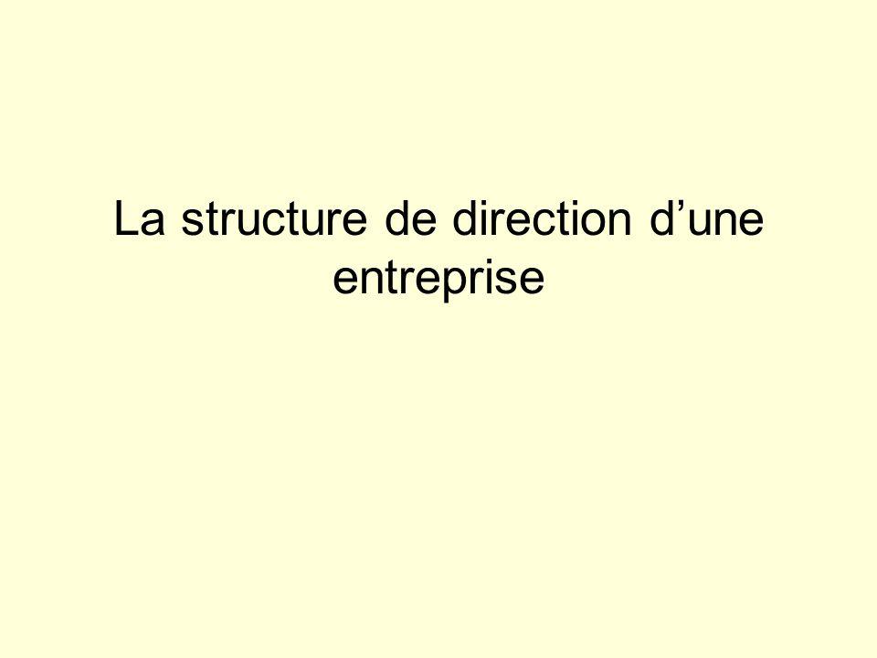 La structure de direction dune entreprise