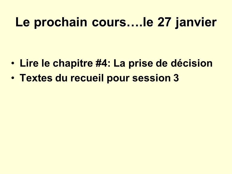 Le prochain cours….le 27 janvier Lire le chapitre #4: La prise de décision Textes du recueil pour session 3