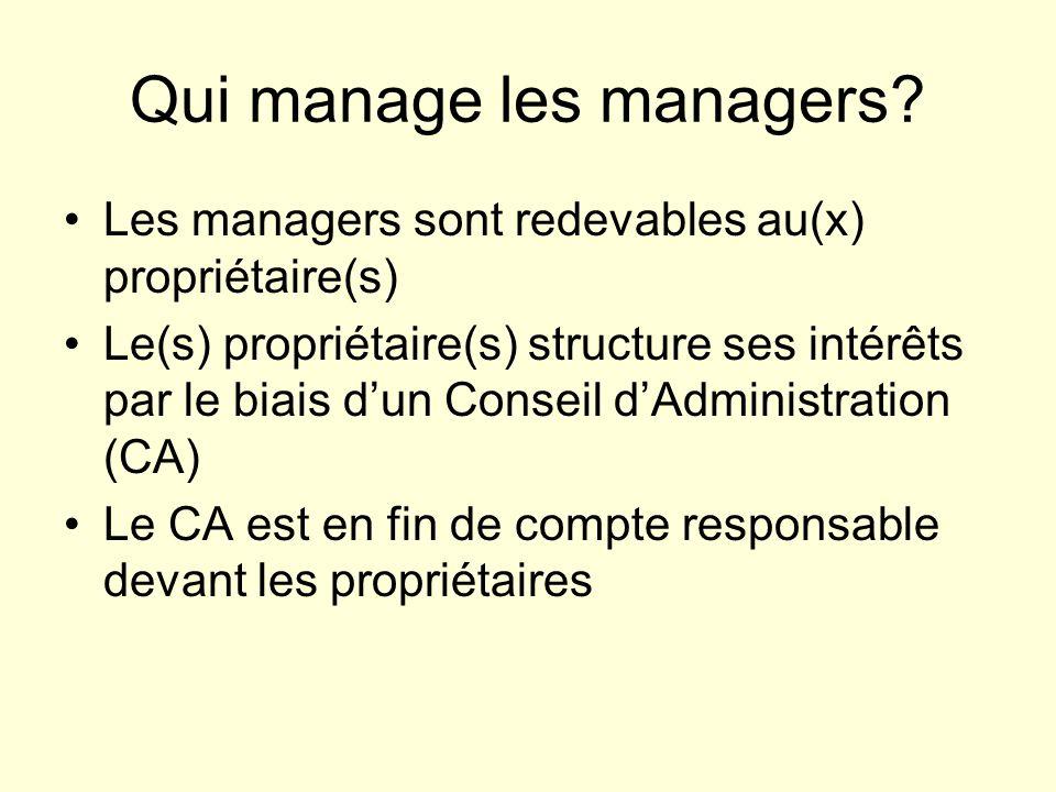 Qui manage les managers? Les managers sont redevables au(x) propriétaire(s) Le(s) propriétaire(s) structure ses intérêts par le biais dun Conseil dAdm