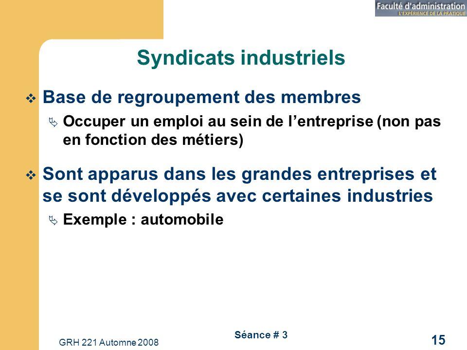 GRH 221 Automne 2008 15 Séance # 3 Syndicats industriels Base de regroupement des membres Occuper un emploi au sein de lentreprise (non pas en fonctio
