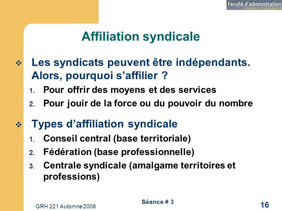 GRH 221 Automne 2008 16 Séance # 3 Affiliation syndicale Les syndicats peuvent être indépendants. Alors, pourquoi saffilier ? 1. Pour offrir des moyen