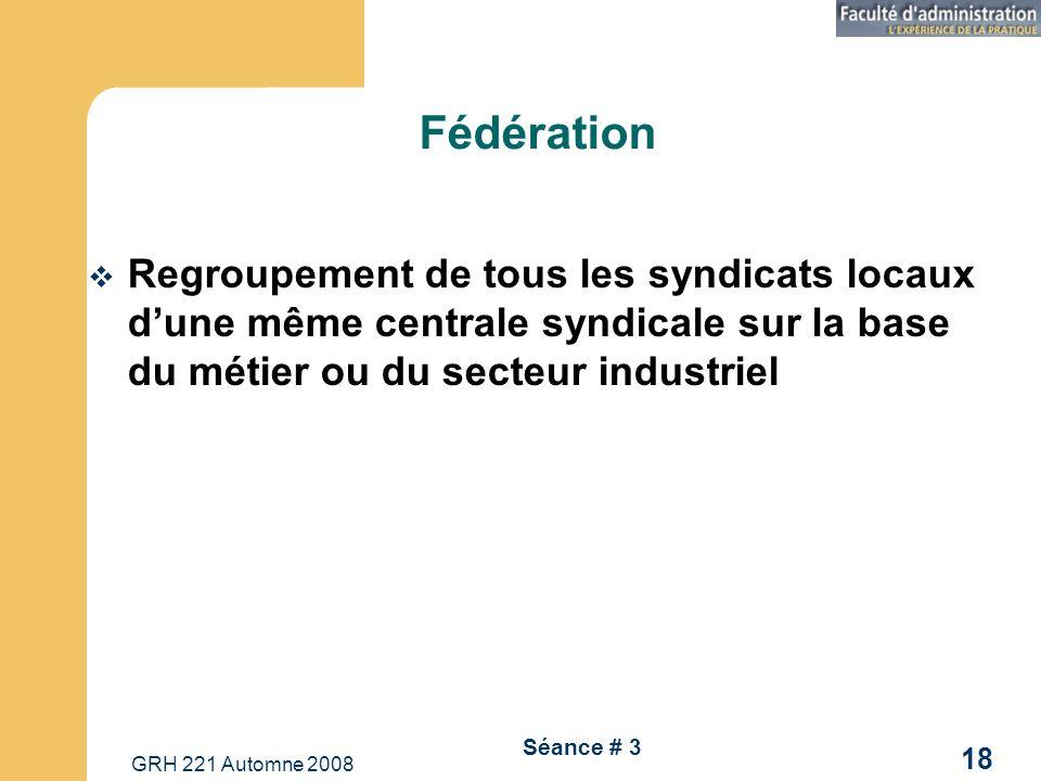 GRH 221 Automne 2008 18 Séance # 3 Fédération Regroupement de tous les syndicats locaux dune même centrale syndicale sur la base du métier ou du secte