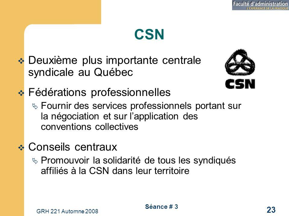 GRH 221 Automne 2008 23 Séance # 3 CSN Deuxième plus importante centrale syndicale au Québec Fédérations professionnelles Fournir des services profess