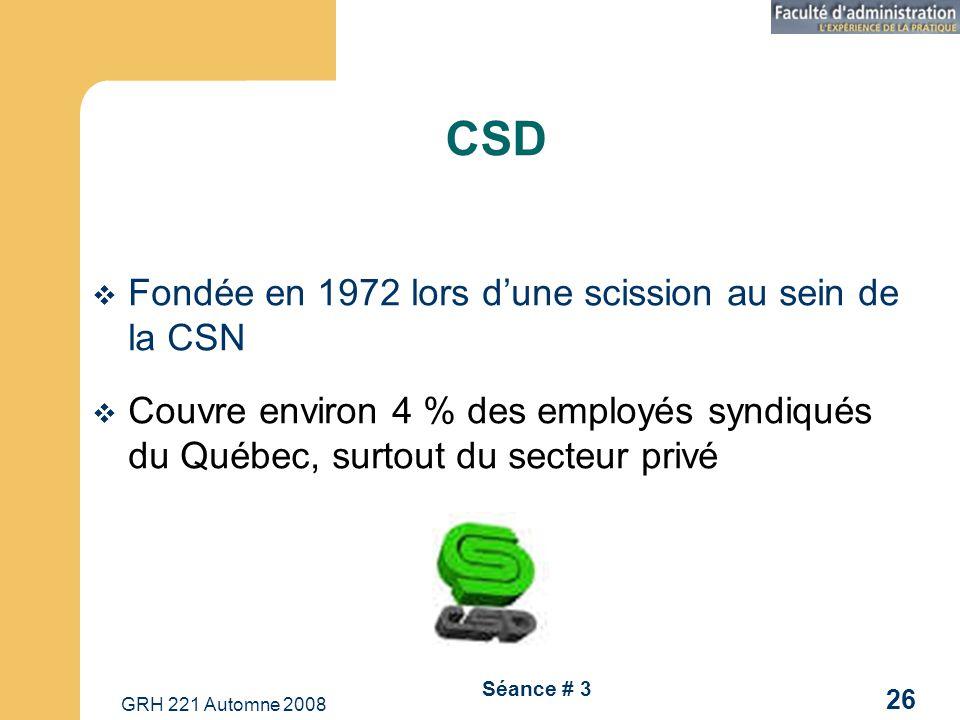 GRH 221 Automne 2008 26 Séance # 3 CSD Fondée en 1972 lors dune scission au sein de la CSN Couvre environ 4 % des employés syndiqués du Québec, surtou