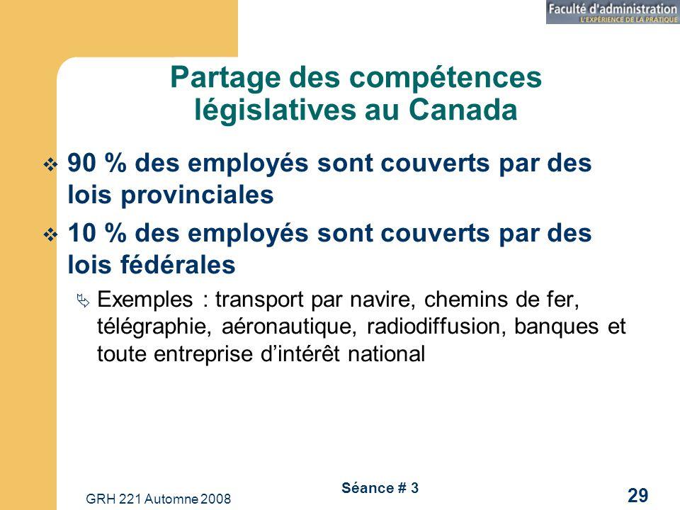 GRH 221 Automne 2008 29 Séance # 3 Partage des compétences législatives au Canada 90 % des employés sont couverts par des lois provinciales 10 % des e