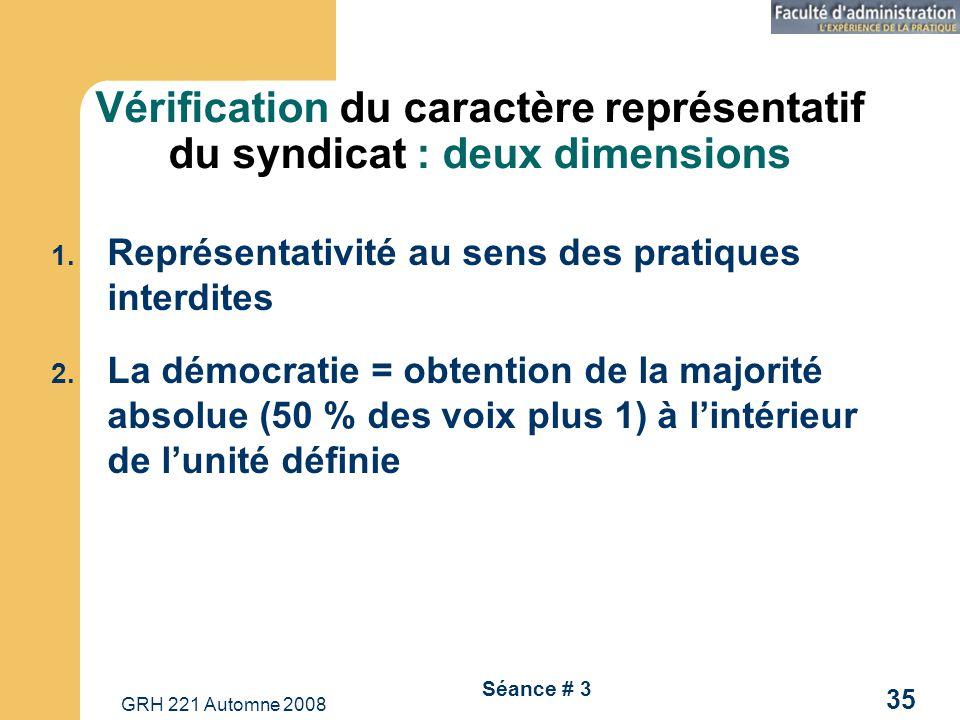 GRH 221 Automne 2008 35 Séance # 3 Vérification du caractère représentatif du syndicat : deux dimensions 1. Représentativité au sens des pratiques int