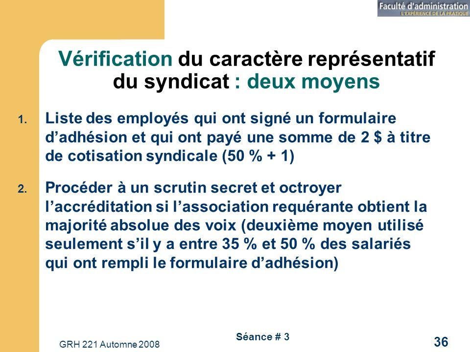 GRH 221 Automne 2008 36 Séance # 3 Vérification du caractère représentatif du syndicat : deux moyens 1. Liste des employés qui ont signé un formulaire