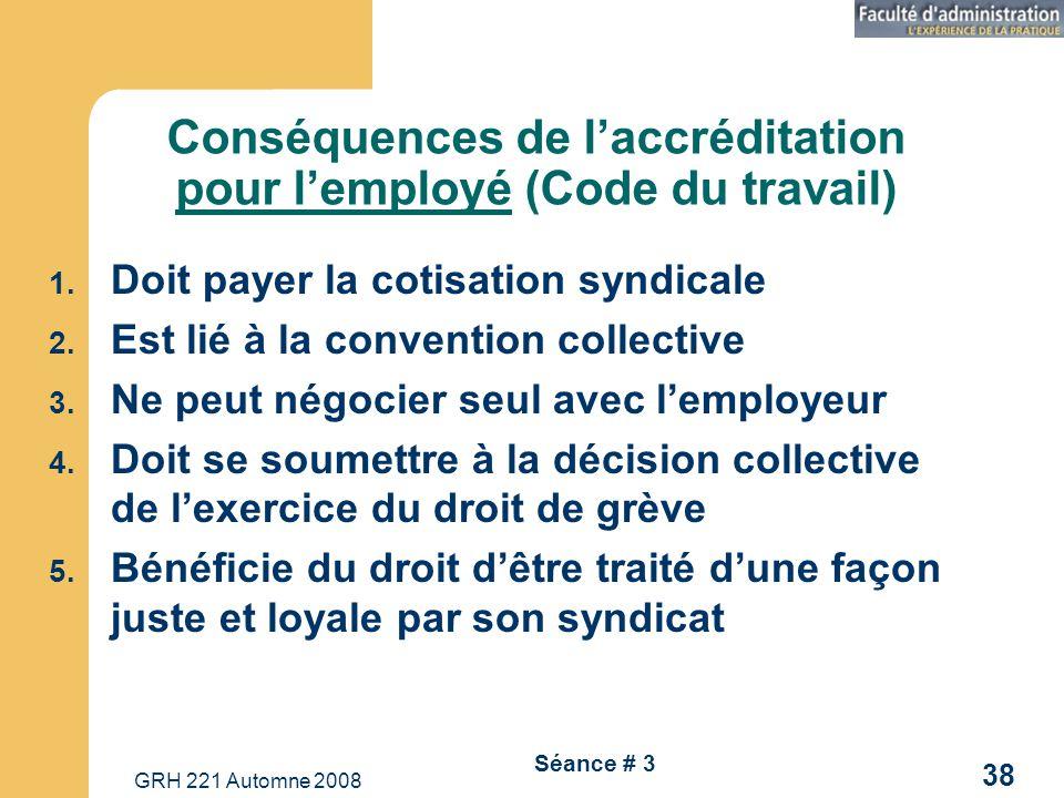 GRH 221 Automne 2008 38 Séance # 3 Conséquences de laccréditation pour lemployé (Code du travail) 1. Doit payer la cotisation syndicale 2. Est lié à l
