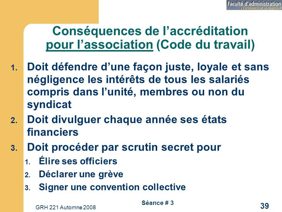 GRH 221 Automne 2008 39 Séance # 3 Conséquences de laccréditation pour lassociation (Code du travail) 1. Doit défendre dune façon juste, loyale et san