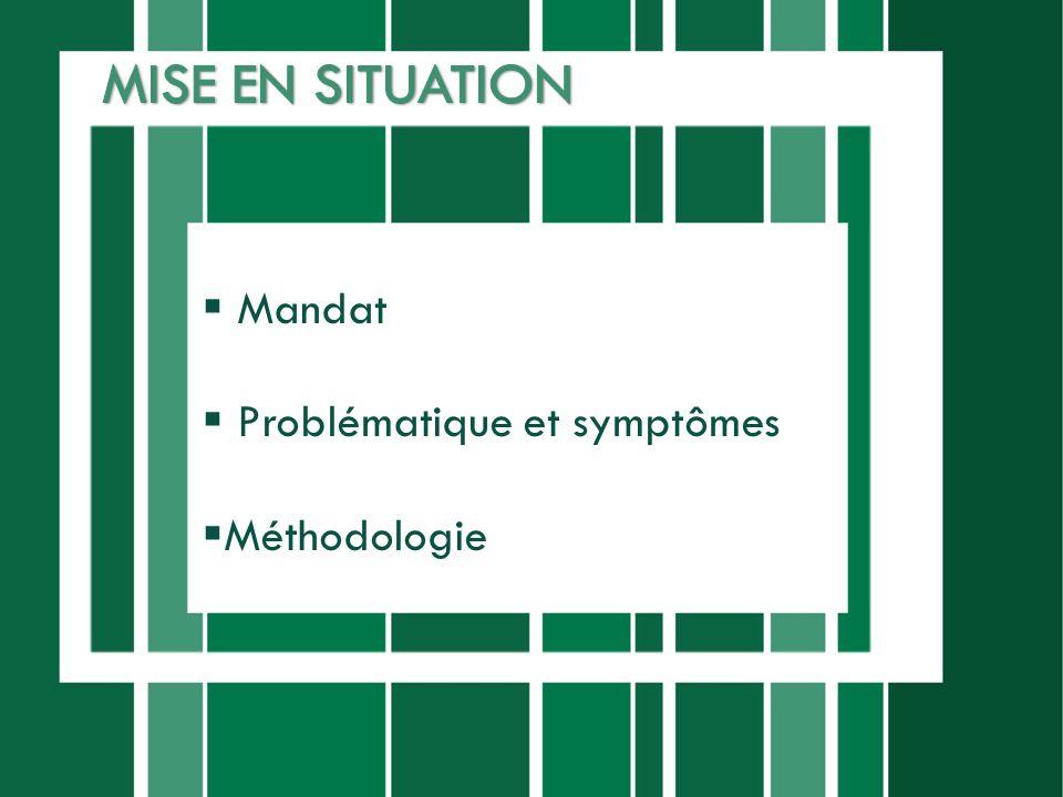Mandat Problématique et symptômes Méthodologie