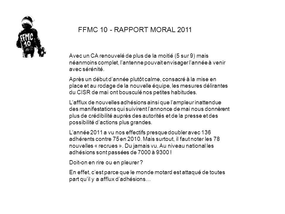 FFMC 10 - RAPPORT MORAL 2011 Avec un CA renouvelé de plus de la moitié (5 sur 9) mais néanmoins complet, lantenne pouvait envisager lannée à venir avec sérénité.