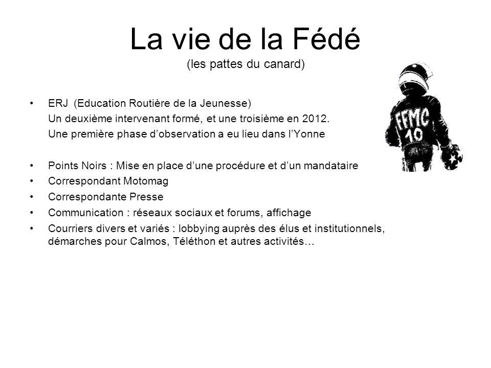 La vie de la Fédé (les pattes du canard) ERJ (Education Routière de la Jeunesse) Un deuxième intervenant formé, et une troisième en 2012.